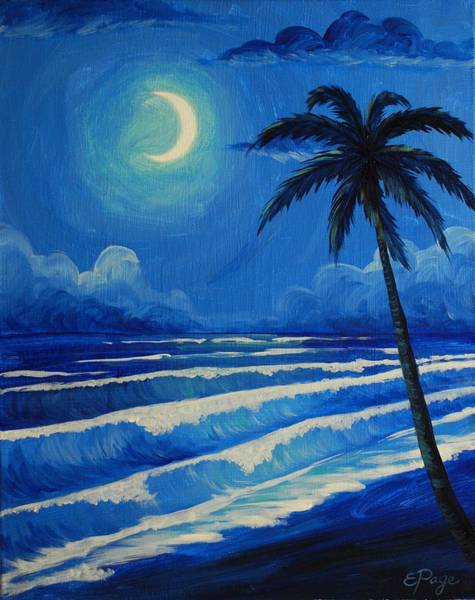 Painting - Moonlit Waves by Emily Page