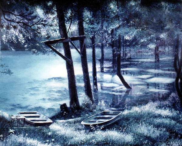 Thicket Wall Art - Painting - Moonlite On Village Creek by Randy Welborn