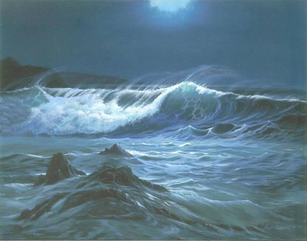 Wall Art - Painting - Moonlite Wave by Susan Elizabeth Wolding