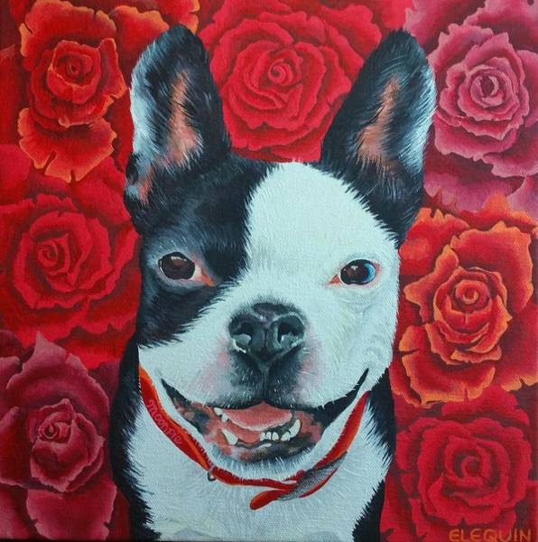 Wall Art - Painting - Moonpie With Roses by Elizabeth Elequin
