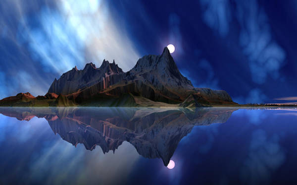 Wall Art - Digital Art - Moonrise Accension Island. by David Jackson