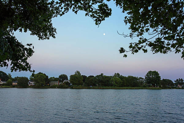 Photograph - Moonrise And Sunset Over Spy Pond In Arlington Ma by Toby McGuire