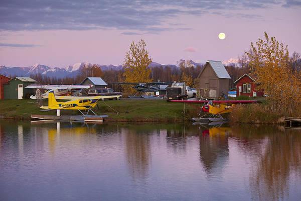 Anchorage Photograph - Moonrise At Lake Hood by Tim Grams