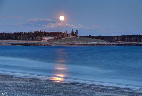 Photograph - Moonrise At Roque Bluffs by John Meader
