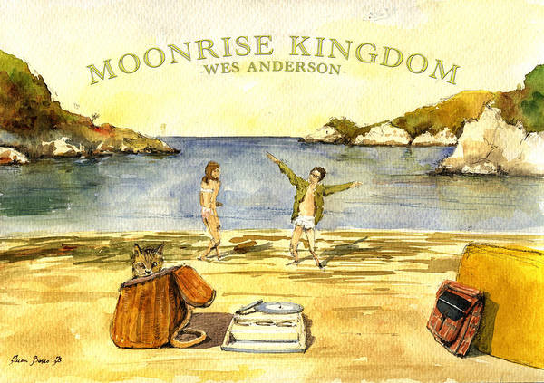 Movie Poster Painting - Moonrise Kingdom Poster From Watercolor by Juan  Bosco