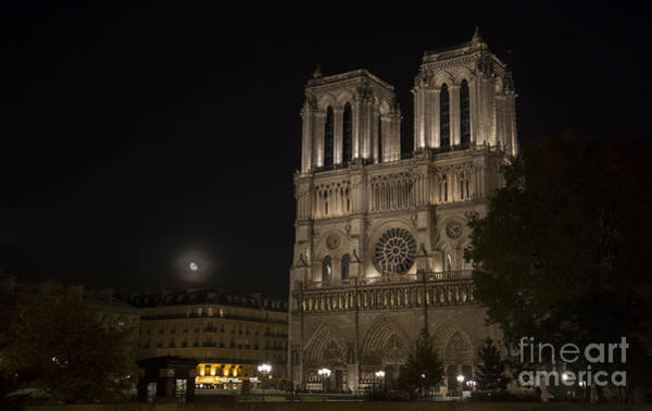 Photograph - Moonrise Notre Dame by Hitendra SINKAR