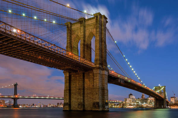 Nbc Photograph - Moonrise Over Brooklyn Bridge by Randy Lemoine