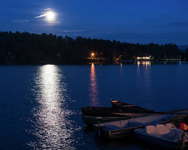 Photograph - Moonrise On Mirror Lake Lake Placid New York Ny Boats by Toby McGuire