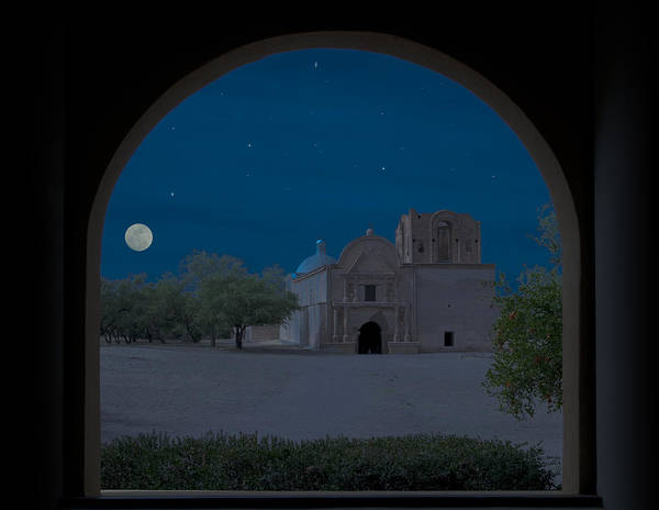 Wall Art - Photograph - Moonrise On Tumacacori Mission by Sandra Bronstein