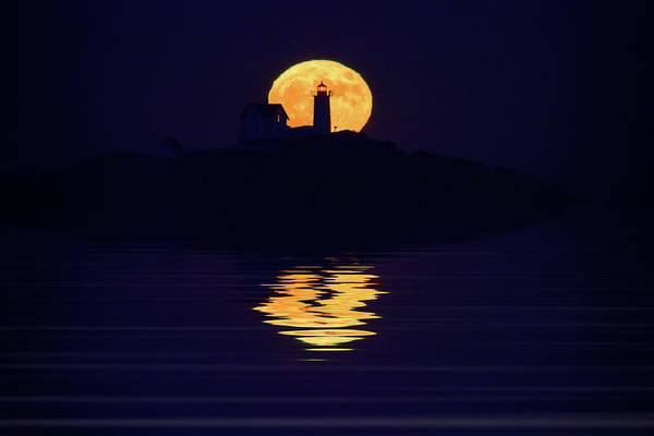 Wall Art - Photograph - Moonrise Over Cape Neddick by Rick Berk