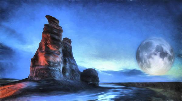 Digital Art - Moonrise Over Castle Rock by JC Findley