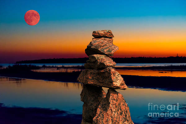 Photograph - Moonrise Over Inukshuk At Georgian Bay by Les Palenik