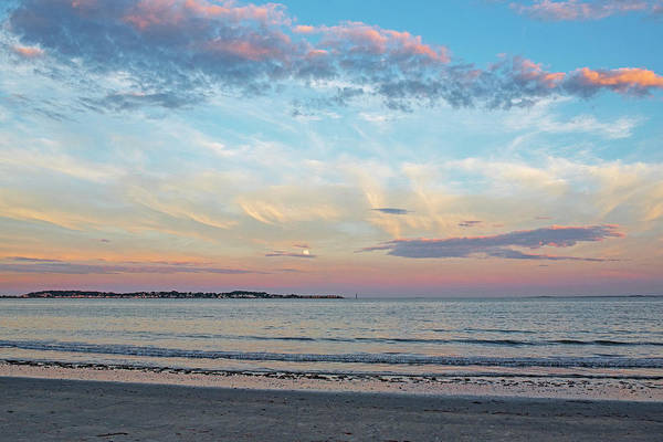 Photograph - Moonrise Over Nahant From Revere Beach Revere Ma Red Sunset by Toby McGuire