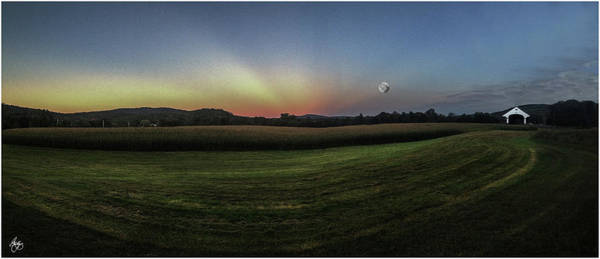 Photograph - Moonrise Over Smith Bridge Cornfield by Wayne King