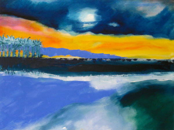 Wall Art - Painting - Moonrise Over Sunset by Jane Ubell-Meyer