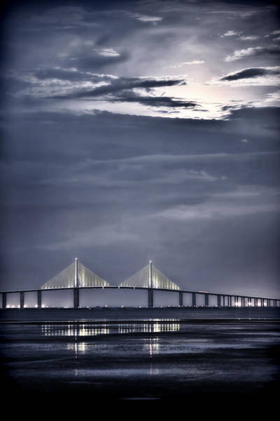Photograph - Moonrise Over Sunshine Skyway Bridge by Steven Sparks