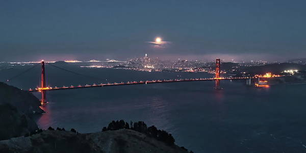 Photograph - Moonrise Over The Golden Gate by Harold Rau
