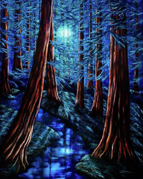 Moonrise Over The Los Altos Redwood Grove Art Print