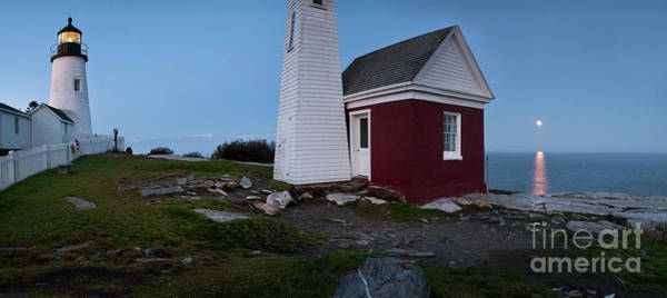 Photograph - Moonrise Panorama, Pemaquid Point Light #8123-8137 by John Bald
