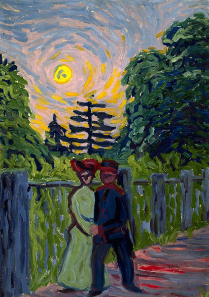 Painting - Moonrise Soldier And Maiden by Ernst Ludwig Kirchner