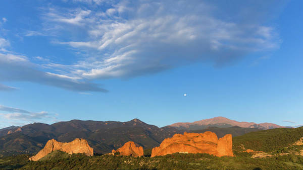 Lyons Wall Art - Photograph - Moonset At Dawn Over Garden Of The Gods by Bridget Calip