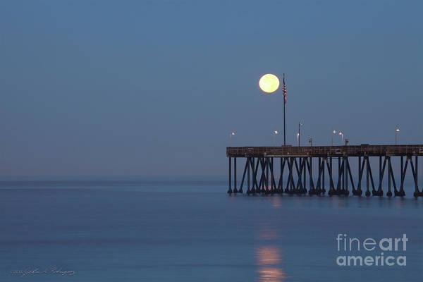 Moonset At The Ventura Pier Art Print