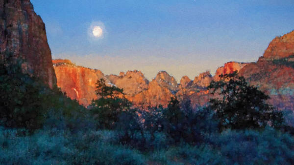 Digital Art - Moonset In Zion by Rick Wicker