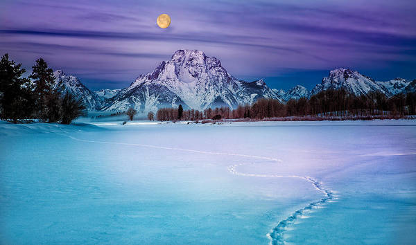 Moonset On Moran Art Print