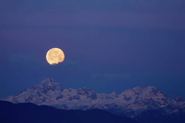 Wall Art - Photograph - Moonset Over Mount Triglav In The Julian Alps by Ian Middleton