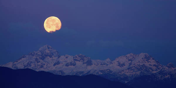 Wall Art - Photograph - Moonset Over The Julian Alps by Ian Middleton