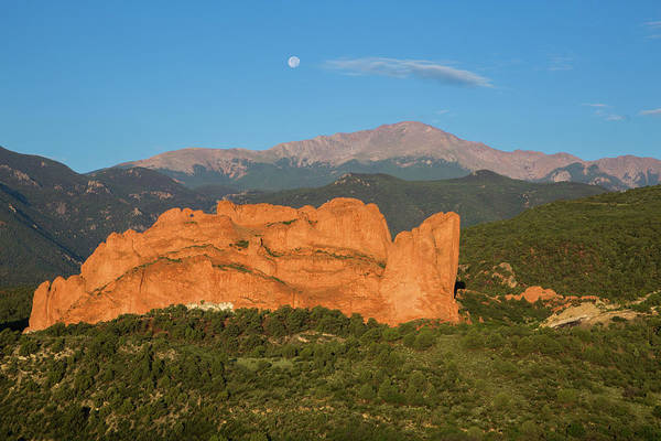 Lyons Wall Art - Photograph - Moonset Over The Kissing Camels And Pikes Peak, Garden Of The Go by Bridget Calip