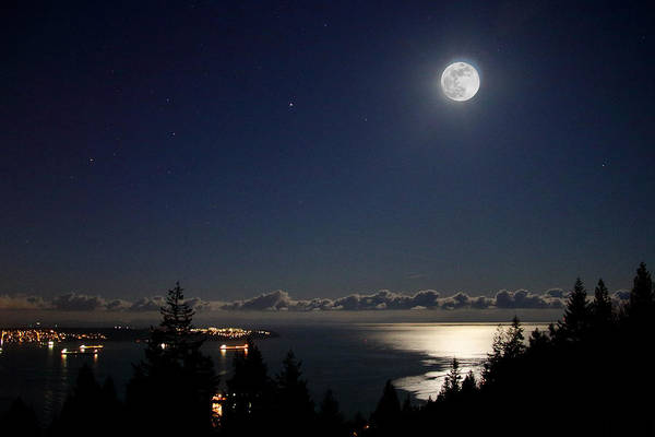 Photograph - Moonshine Over English Bay by Hagen Pflueger