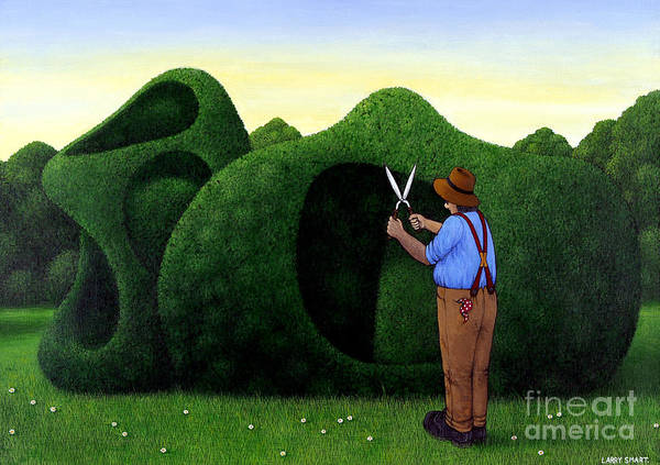 Trimming Painting - Moore Topiary by Larry Smart