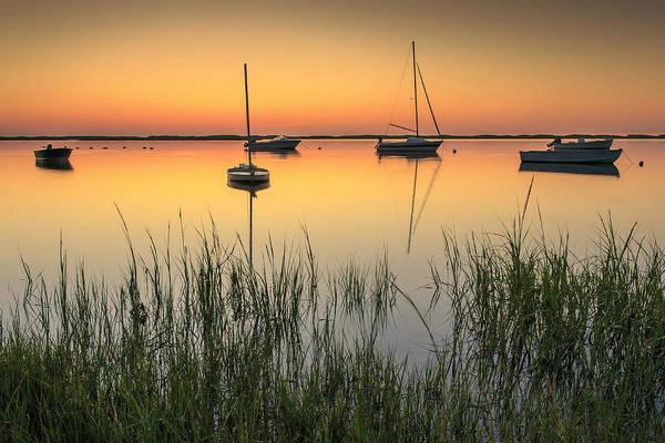 Wall Art - Photograph - Moored Boats At Sunrise by Dapixara Art