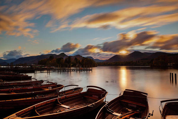 Moored Boats Derwent Water. Art Print