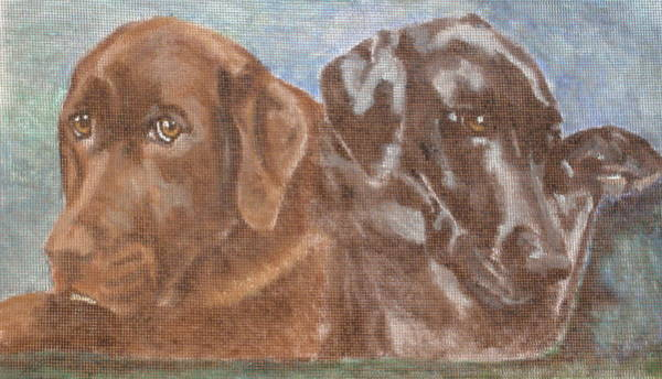 Black Great Dane Painting - Moose And Dane by Carol Russell