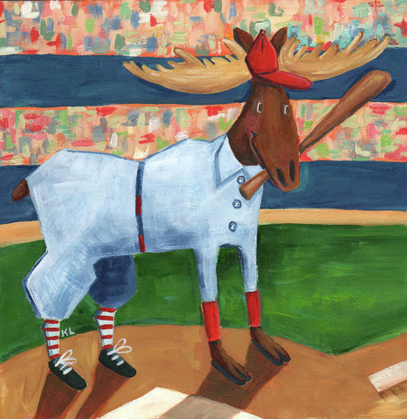 Wall Art - Painting - Moose Baseball by Kristy Lankford