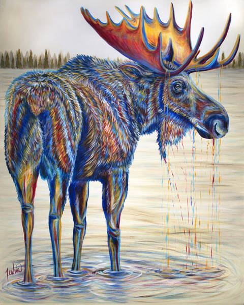Colorado Wildlife Wall Art - Painting - Moose Gathering, 2 Piece Diptych- Piece 1- Left Panel by Teshia Art