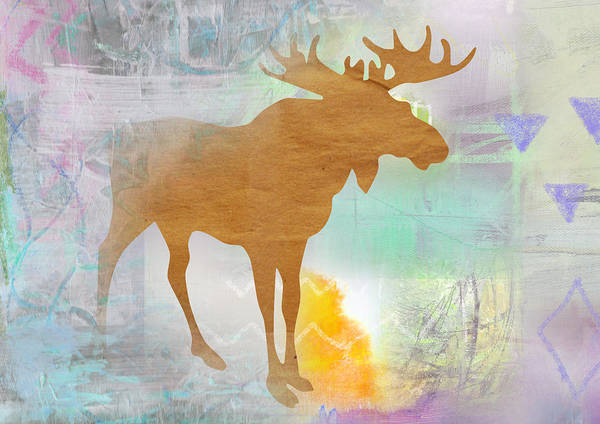 Fall Colors Mixed Media - Moose In The Fog  by Claudia Schoen