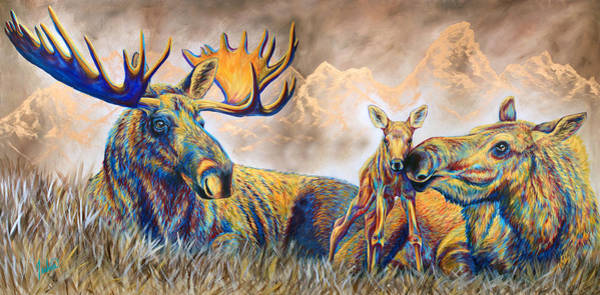 Calf Painting - Moose Meadows by Teshia Art