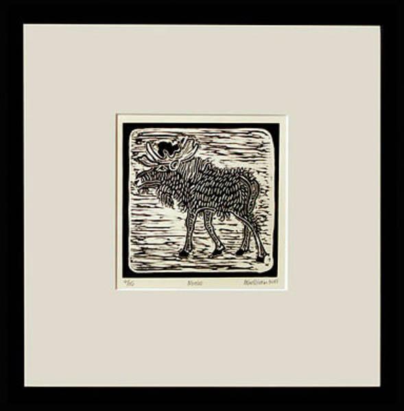 Linoleum Mixed Media - Moose by Melissa Sullivan