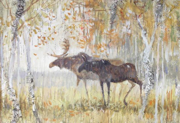 Painting - Mooses In The Autumn Woods by Ilya Kondrashov