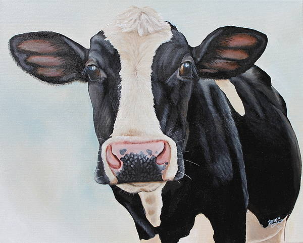 Holstein Wall Art - Painting - Moowho by Laura Carey
