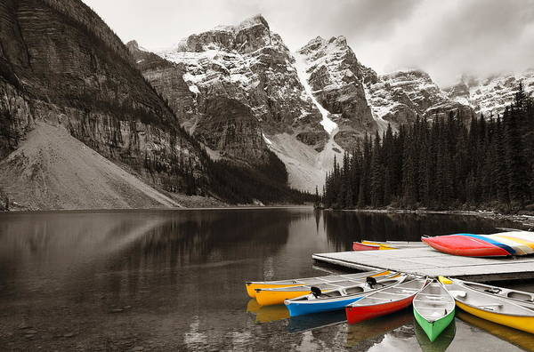 Photograph - Moraine Lake Boat by Songquan Deng