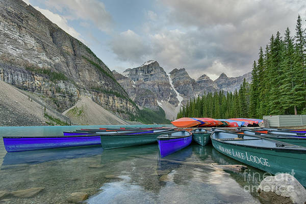 Moraine Lake Photograph - Moraine Lake Canoe Water Line View by Paul Quinn