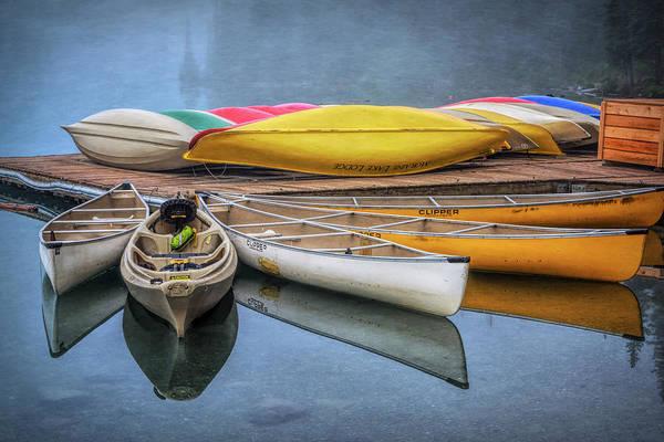 Moraine Lake Photograph - Moraine Lake Canoes by Joan Carroll