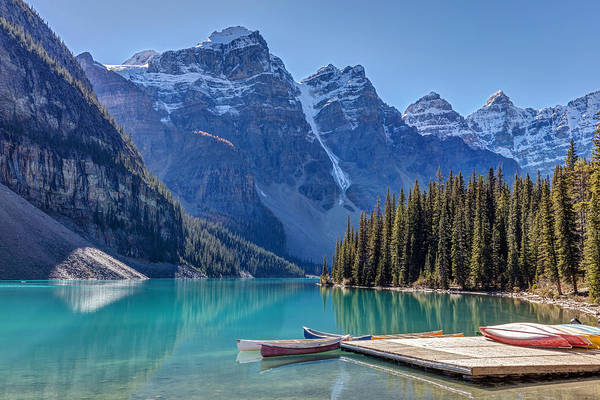 Photograph - Moraine Lake Canoes by Pierre Leclerc Photography