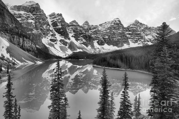Photograph - Moraine Lake Emerald Water Reflections Black And White by Adam Jewell