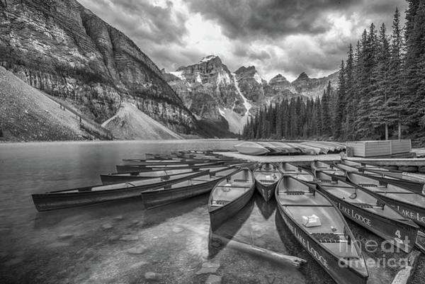 Photograph - Moraine Lake In Black And White by Paul Quinn