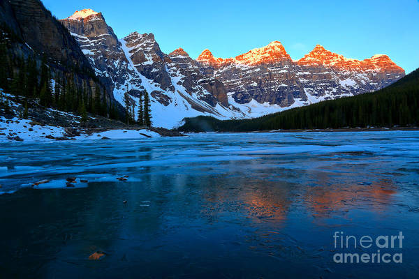 Photograph - Moraine Lake Red Sunrise Glow by Adam Jewell